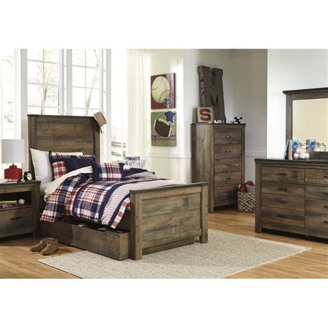 ashley trundle bed ashley trinell twin panel bed with trundle in brown b446