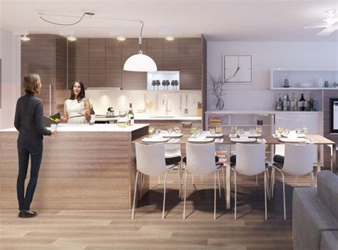 integrated dining table with kitchen island for modern