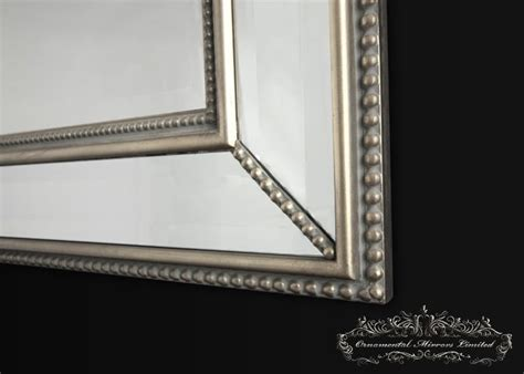 beaded mirror silver decorative wall mirror from ornamental mirrors limited