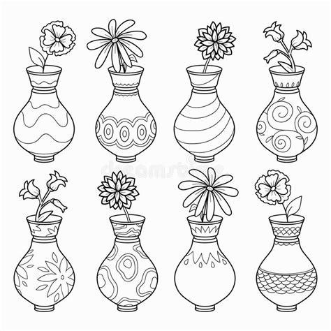 vasi fiori dwg il libro da colorare vasi con i fiori vector l insieme