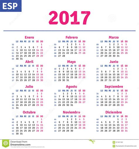 El Calendario En Espanol Calendario Espa 241 Ol 2017 Ilustraci 243 N Vector Imagen