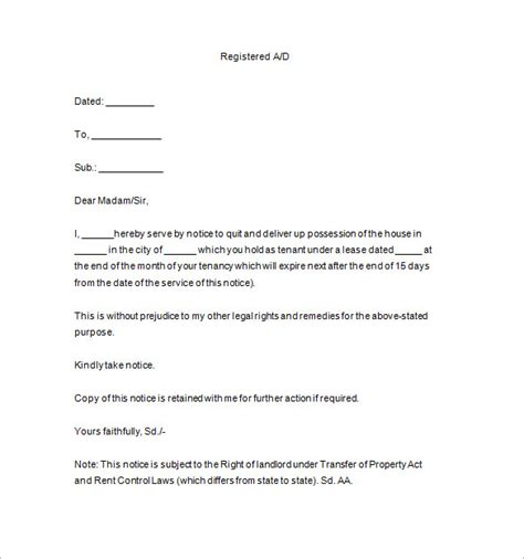 End Of Tenancy Notice Template end tenancy letter template 10 lease termination letter