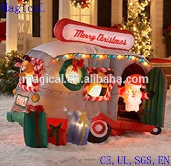 Outdoor Christmas Inflatable Yard Decorations by Animated Santa Holiday Camper Christmas Inflatable Buy