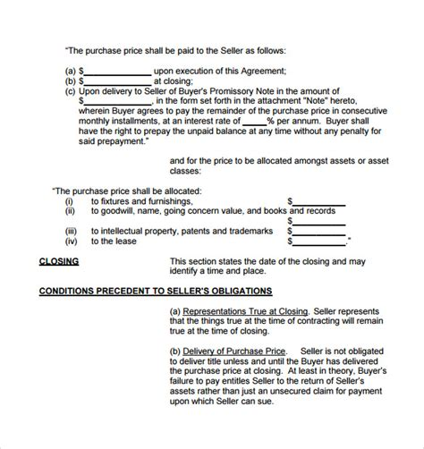 business purchase agreement template business purchase agreement 7 documents in pdf