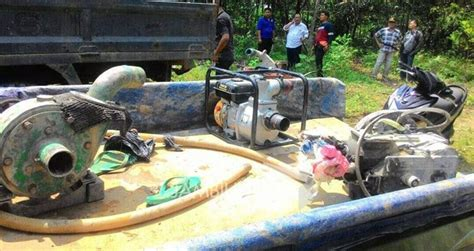 Mesin Dompeng Razia Peti Di Merangin Pelaku Berhamburan Sejumlah Mesin