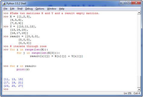python tutorial javatpoint python add two matrices javatpoint