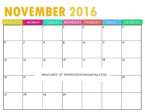 free colorful printable calendar 2016 free printable calendar for november 2016