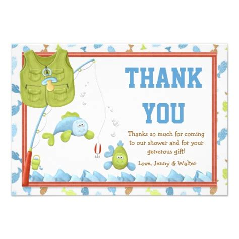 thank u baby shower cards fishing baby shower thank you card 3 5 quot x 5 quot invitation
