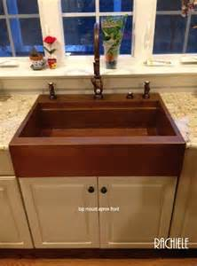 copper top mount drop in farmhouse workstation sink by