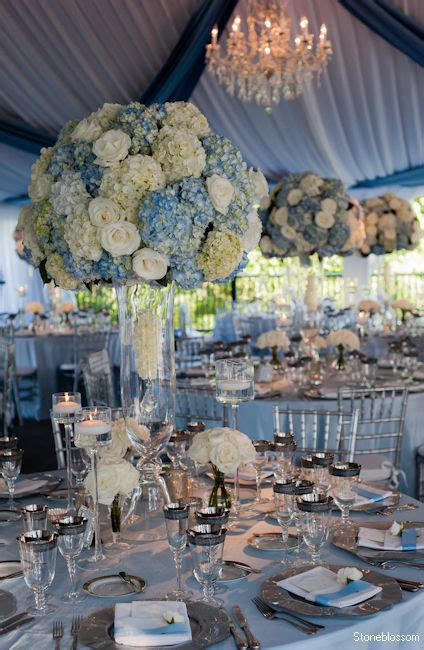 Blue And White Wedding Reception Decorations by Dusty Blue And White Hydrangea Wedding Decor Ideas