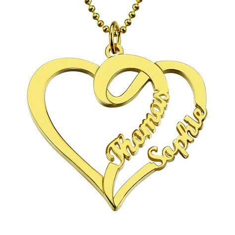 gold color names wholesale personalized necklace with two hearts and