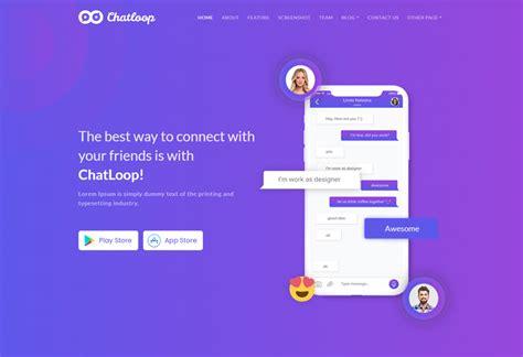 Chatloop Premium Responsive Angular 7 Landing Page Html5 Template Angular Landing Page Template