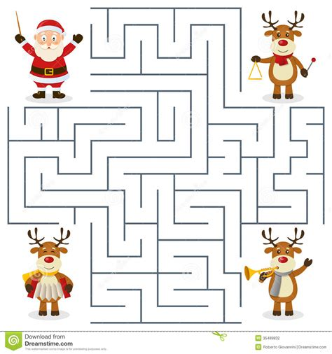 Reindeer Orchestra Maze For Kids Stock Vector Image