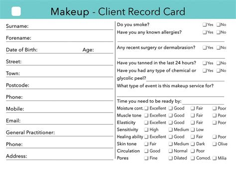 nail technician client record card template makeup client card treatment consultation card clients