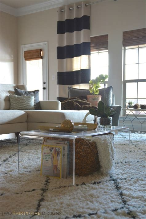 Ideas For Lucite Coffee Table Design Diy No Sew Painted Drop Cloth Curtain Panels Two Thirty Five Designs
