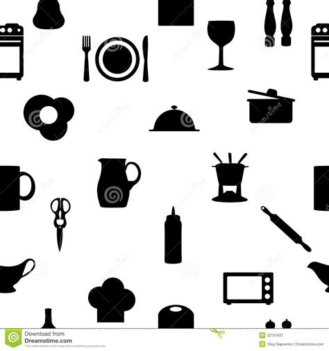 Kitchen Accessories Vector Free Kitchen Tools Icons Silhouette Seamless Pattern Royalty