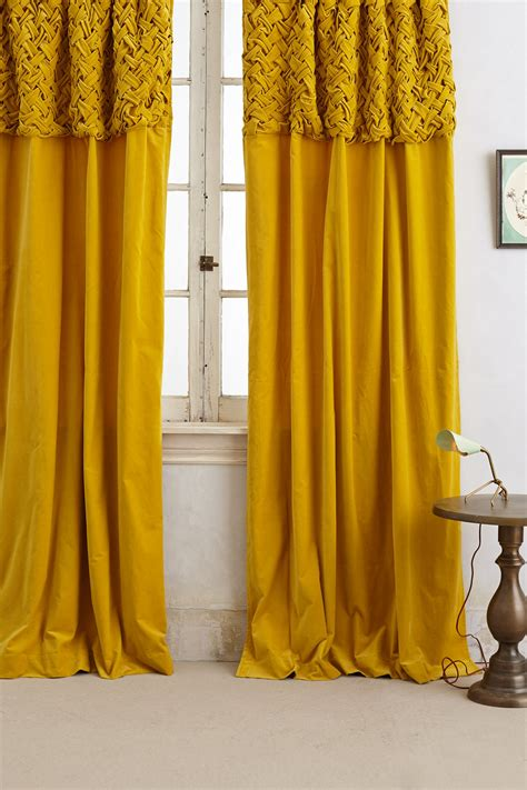 Mustard Yellow Curtains Braided Velvet Curtain Anthropologie Mustard And Living Rooms