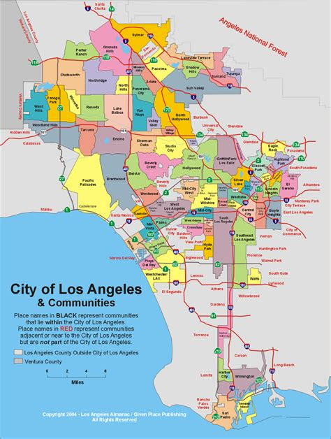la county map map of city tourist maps
