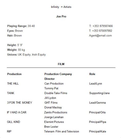 free acting resume template 10 acting resume templates free sles exles