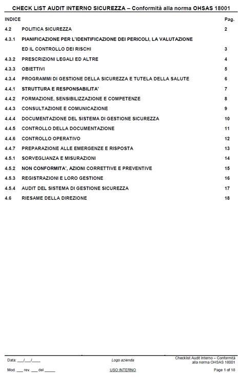 auditing interno checklist audit interno sicurezza ohsas18001 catalogo