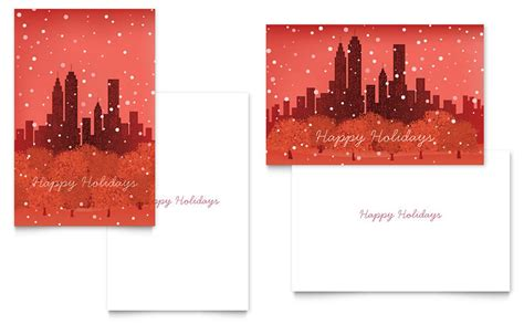 Microsoft Word Templates Place Holder Cards Winter by Cityscape Winter Greeting Card Template Word