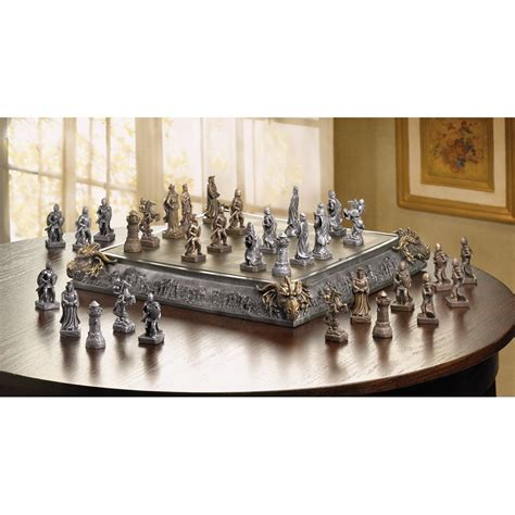 dragon chess set medieval knight dragon battle carved chess game set