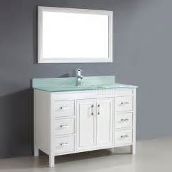 Double Wide Bathroom Mirror by Studio Bathe Corniche 48 Inch Bathroom Vanity White Finish