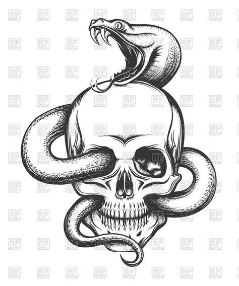 imagenes de calaveras y serpientes human skull with crawling snake royalty free vector clip