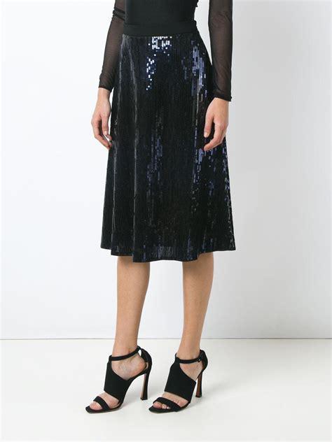 giuliana romanno sequin midi skirt in black lyst