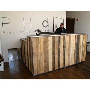 How To Make Reception Desk Reclaimed Timber Reception Desk Pilates Studio Decor Receptions Industrial And