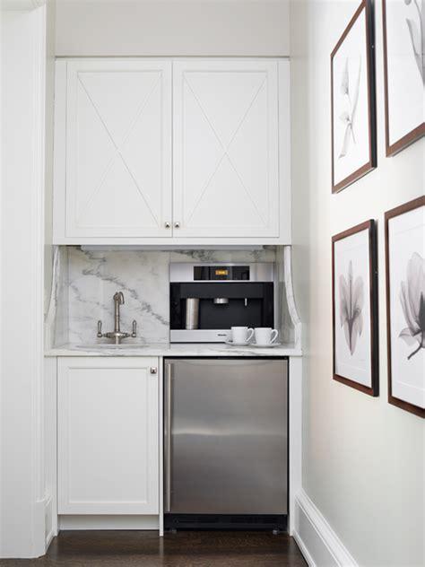 hidden coffee station contemporary kitchen caden