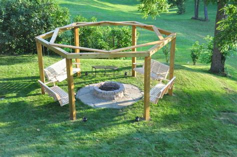 hexagon fire pit swing porch swing fire pit