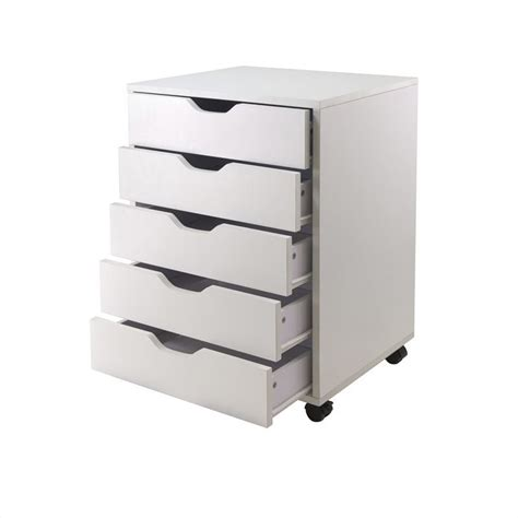 winsome halifax 5 drawer wood mobile white filing cabinet