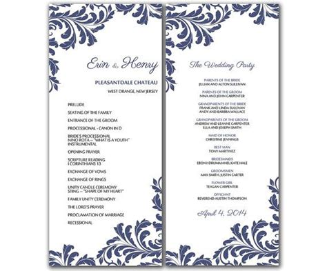 wedding programme template word diy vintage leaf wedding program microsoft word template