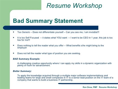 Resume Workshop by Rdrew Resume Workshop