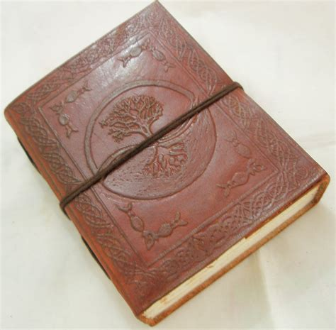 Handmade Paper Diary - handmade tree of embossed leather journal blank