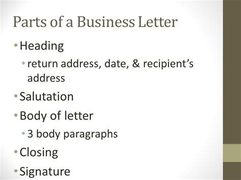 Parts Of A Business Letter For Students business letters fifth grade ppt