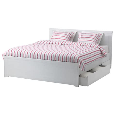 storage bed frame brusali bed frame with 2 storage boxes white 140x200 cm ikea