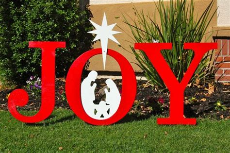 wooden joy christmas yard sign nativity outdoor yard sign