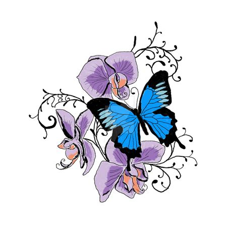 chic tattoo designs chic purple orchids and bright blue butterfly
