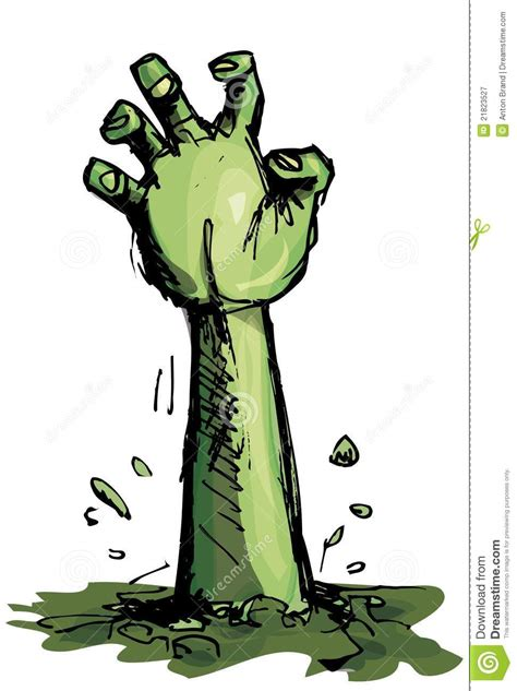 cartoon   green zombie hand royalty  stock