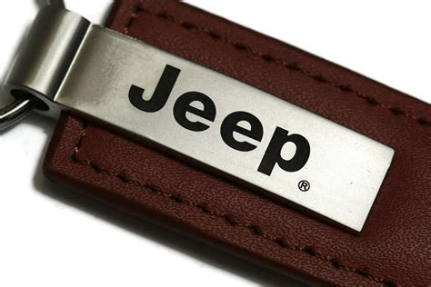 Jeep Key Ring Jeep Brown Leather Authentic Logo Key Ring Fob Keychain