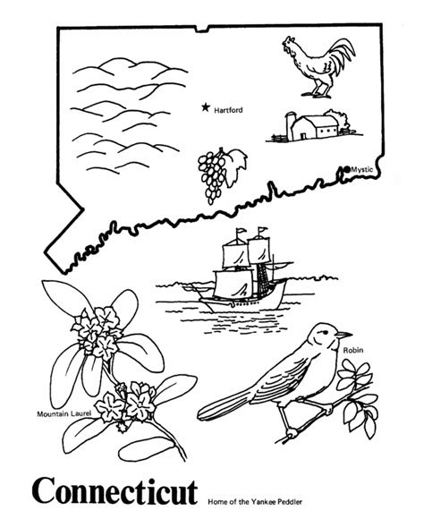 connecticut map coloring page state clocks archives soy candles n craftssoy candles n