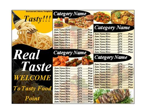 catering menu templates free restaurant menu template