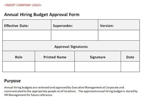 policy approval form template annual hiring budget approval form accounting template
