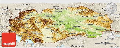 physical map of macedonia mazedonien physik karte