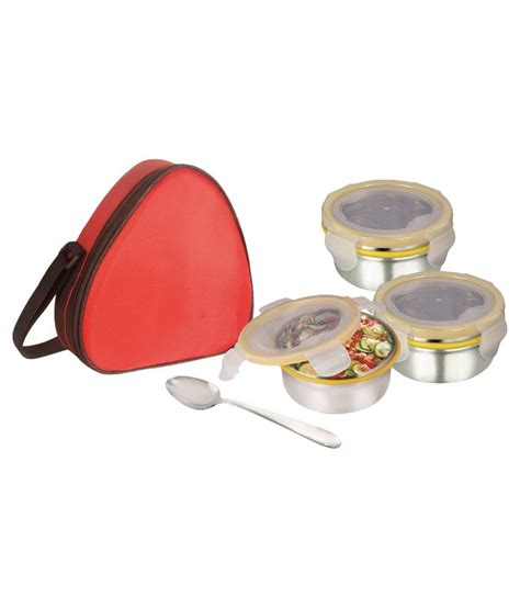 Lunch Box Kotak Makan Buy 1 Get 3 Tempat Rantang Rainbow Murah buy perfeto steel containers with plastic lid lunch box lowest prices snapdeal
