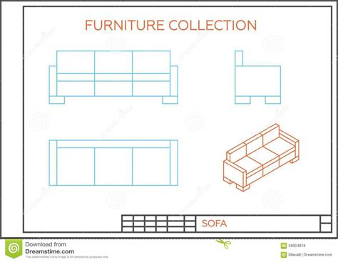 floor plan couch blueprint of a sofa stock illustration image 58904818