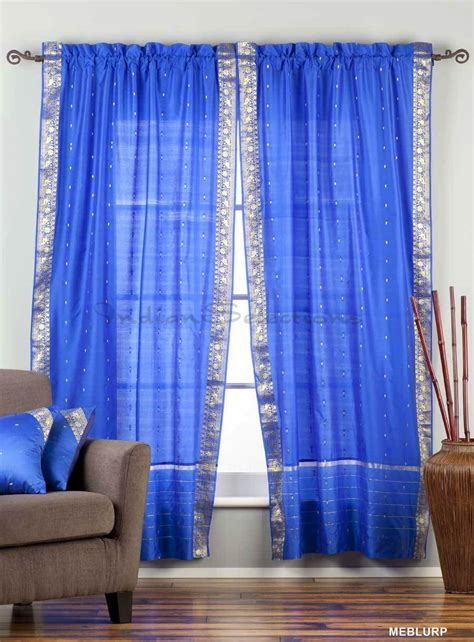 indian curtains drapes indian selections enchanting blue rod pocket sheer sari