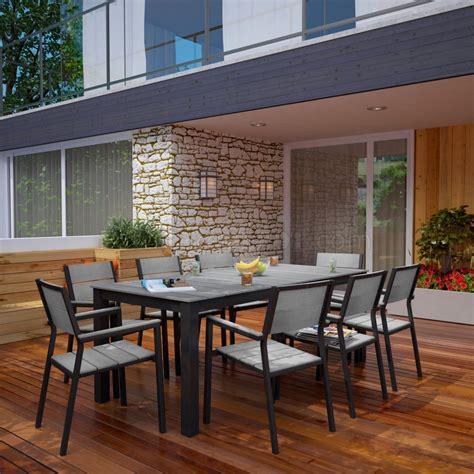 maine  piece outdoor patio dining set  brown gray